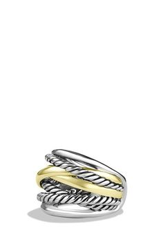 David Yurman 'Crossover' Wide Ring with Gold available at #Nordstrom