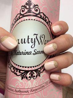 #shellac#quickgel#nude#withgold#nailart#beautywaysbykaterinasarmonika