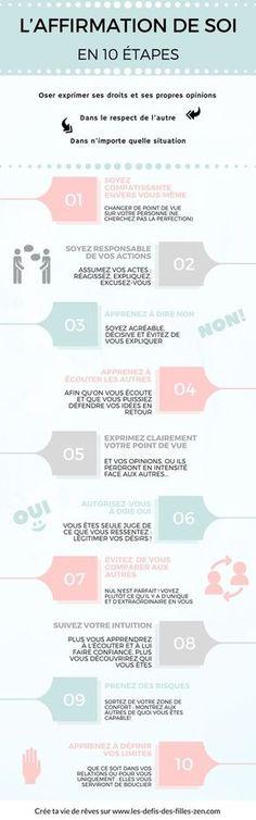 L'affirmation de soi : 10 étapes pour renforcer l'affirmation de soi, et apprendre à s'affirmer pas-à-pas, en suivant notre liste de conseils et affirmations positives.