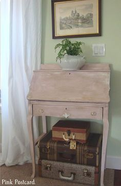 Lovely writing desk in Antoinette with dark wax by Pink Postcard!