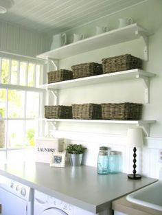 perfect for my laundry room -countertop over washer and dryer - pretty shelves/baskets above