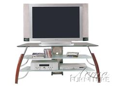 Acme Furniture Martini Cherry Chrome Tv Stand