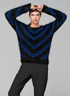 Cat. 15/16 - #116 Round-neck two-tone sweater Patterns