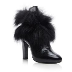 Leather Boots with Fox Fur | Moda Operandi ($1,450) via Polyvore featuring shoes and boots