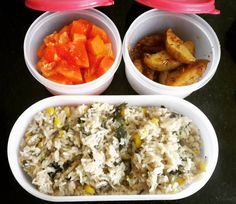Indian Lunch Box, Papaya Recipes, Spinach Rice, Potato Wedges, Lunch Box Recipes, Oatmeal, Potatoes, Breakfast, Kids
