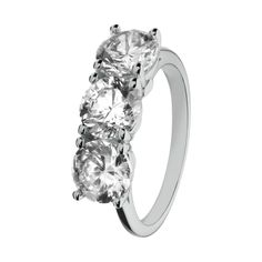 Extraordinary diamond ring Geneva in 18-carat white gold with 3 singe brilliants of 1 carat