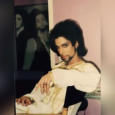 Prince • 1999-2001 'Rave Un2 The Joy Fantastic' Era - Rare Candid with Nude 1990 Era photo in the background, most likely taken at Paisley Park Studios.