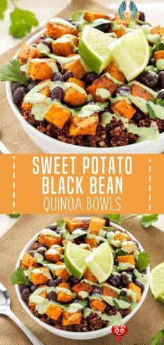 SWEET POTATO AND BLACK BEAN QUINOA BOWLS A meatless quick and easy healthy recipe for lunch and dinner perfect to achieve your nutrition goals! These Sweet Potato and Black Bean Quinoa Bowls have a lot of things going for them that make eating a meatless meal less of a struggle. Save this vegetarian meal for later!<br> Vegetarian Main Dishes, Vegetarian Recipes Dinner, Easy Dinner Recipes, Easy Meals, Dessert Recipes, Recipes For Vegetarians, Meatless Dinner Ideas, Easy Healthy Vegetarian Recipes, Quick Easy Healthy Dinner
