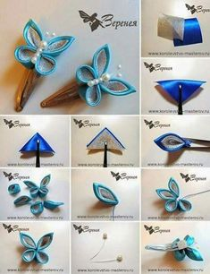 How to Make Fabric Kanzashi Flowers. In this tutorial you'll learn how to make this beautiful Kanzashi fabric flower. Satin Ribbon Flowers, Cloth Flowers, Ribbon Art, Diy Ribbon, Fabric Ribbon, Ribbon Crafts, Flower Crafts, Fabric Flowers, Blue Ribbon
