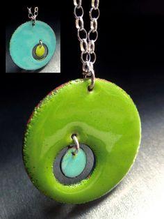 Microcosm Enamel Pendant, Reversible Necklace by marstinia, via Etsy.