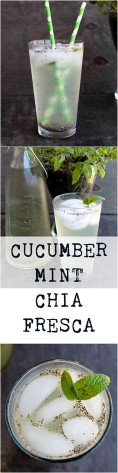 Cucumber Mint Chia Fresca is an easy and flavorful beverage that keeps you hydrated and possibly help you with your soda/caffeine addiction! Healthy Smoothies, Healthy Drinks, Smoothie Recipes, Healthy Eating, Detox Drinks, Fun Drinks, Yummy Drinks, Beverages, Detox Recipes