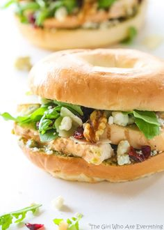 This Hampton Sandwich is one of those fancy salads on a sandwich! Grilled chicken, arugula, Gorgonzola cheese, dried cranberries, pesto, and walnuts. Eat it hot or cold. It's delicious either way!
