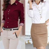 De la Mujer 2015 primavera Patchwork Plaid de manga larga blusa de las mujeres Ropa de Trabajo camiseta de verano vestido de Office Professional Ocupación CS4526