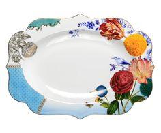 Travessa em Porcelana Flowers - 40X29cm