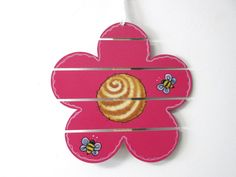 Pink Flower with Bumble Bees, Tole or Hand Painted, Slat Flower, Spring Decoration, Hanging Decoration, Door Hanger,Wood Wall Hanging,Spring - pinned by pin4etsy.com