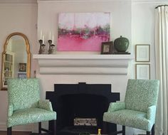 """Check out my painting, """"Pickin Raspberries"""", in my client's house. Looks so good. Design by Meg White Interiors."""