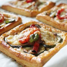 Caramelised onion and courgette, tangy tomato and balsamic & melted cheese. All encased in flaky puff pastry
