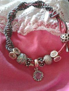 35b959d3d PANDORA. Pink n Grey Coloured Cord ( Lariat ) Bracelet with Oval Lights,  Pale