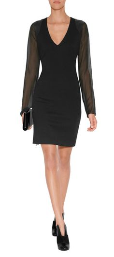 Lend a sultry finish to cocktail hour with this sheer sleeve sheath from Joseph #Stylebop