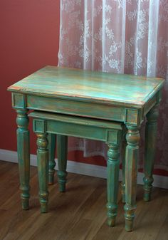 Wood tables shabby table furniture cottage chic french wood tables shabby table furniture cottage chic french country set of two nesting for the home pinterest wood tables table furniture and watchthetrailerfo