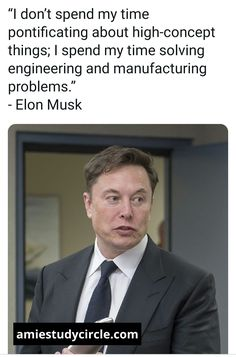 """""""I don't spend my time pontificating about high-concept things; I spend my time solving engineering and manufacturing problems."""" - Elon Musk Tech Quotes, Elon Musk, Engineering, Concept, Technology"""