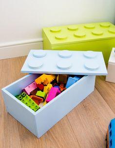 ŚREDNIA SKRZYNIA PUDŁO NA KLOCKI LEGO 100% HANDMADE ZE SKLEJKI