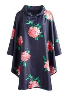 Joules Women's Showerproof Poncho, French Navy Peony.                     Part of our Right as Rain collection this showerproof poncho is just right for our unpredictable weather.  If you're heading to a festival don't leave home without this clever essential that packs neatly away into its front pocket.