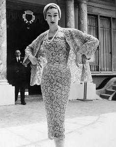 A romantically gorgeous lace ensemble by Jacques Fath. #dress #hat #lace #vintage #fashion #clothing #1950s