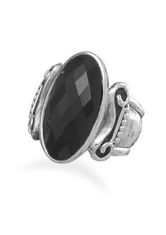 Faceted Oval Black Onyx Ring