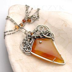 the Fuoco necklace by Iza Malczyk, silver, carnelian, hessonite