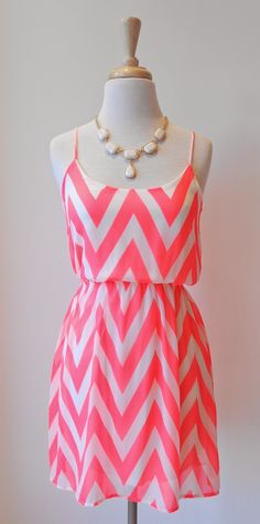 Beautiful neon pink chevron sleeveless mini dress with cute white stones necklace the cute summer outfits Summer Outfits, Cute Outfits, Summer Dresses, Hawaii Outfits, Love Fashion, Fashion Outfits, Womens Fashion, Pretty Dresses, Beautiful Dresses