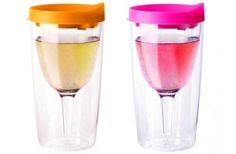Set 2 VINO2GO Orange Pink Lid Adult Wine Sippy Cup Party Travel Plastic Tumbler | eBay