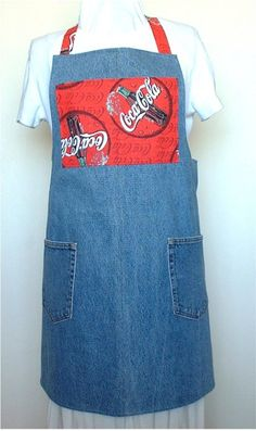Recycled Upcycled Jeans Denim Coca Cola Apron by Goodyboppers, $19.95