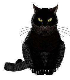 Black Cat • Illustrator • Penny Collins/Studio 566 • www.zazzle.com/studio566*