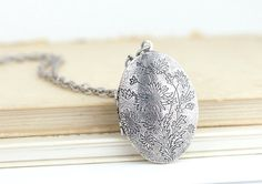 Silver Locket Necklace  Floral Locket Oval by JacarandaDesigns