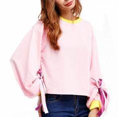 Loose puff sleeve sweatshirt color block style for teenage girls