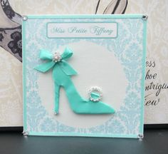 Items similar to Miss Petite Tiffany Shoe Personalized Card / Square / Handmade Greeting Card on Etsy 3d Cards, Paper Cards, Cool Cards, Happy Easter Quotes, Holiday Cards, Christmas Cards, Dress Card, Birthday Cards For Women, Beautiful Handmade Cards