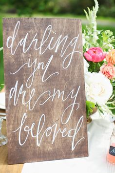 Rustic wedding sign | Read More: http://www.stylemepretty.com/2014/06/24/home-decor-inspired-wedding-details/ | Photography: Kay English Photography - kayenglishphotography.com | Calligraphy + Home Decor: parrischic.com