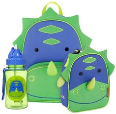 Skip Hop Zoo Backpack, Lunchie and Straw Bottle Set-Dinosaur
