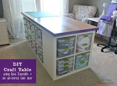 DIY Craft Table - maybe only use one 4x4 to create some leg room so I can sit down? Have hubby build it himself?? Cheaper?