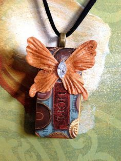 Upcycled Alcohol Inked Domino Butterfly/Hope Necklace w/18 inch Black Suede Rope Chain