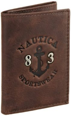 Nautica Men's Leeward Trifold Wallet, Brown, One Size Nautica. $24.99. Bill compartment. 100% Cowhide Leather. Leather framed ID window. Extra storage compartments. Hand Wash. 6 Credit card pockets