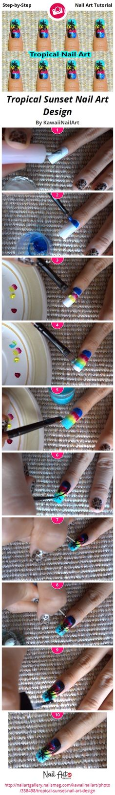 Tropical Sunset Nail Art Design - Nail Art Gallery Step-by-Step Tutorial Photos