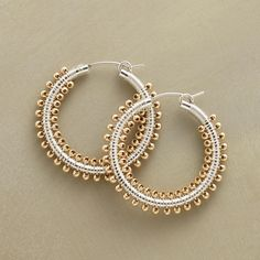 "METAL MIX HOOPS -- Sterling silver hoops are hand wrapped with wire and studded with 14kt goldfilled beads all the way around. USA. Locking sterling silver wires. Exclusive. 1-1/4"" dia."