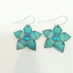 Green flower ear rings Green flower earrings Jewelry