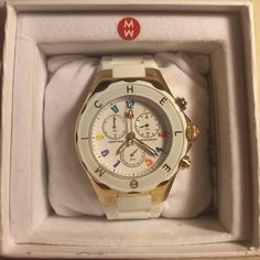 NEW Michele White Tahitian Jelly watch AUTHENTIC WORN ONCE Rainbow numbers, golden accent, white jelly band. Comes with original box!! Michele Accessories Watches