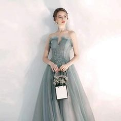 Sexy grey long tulle dress, grey strapless party