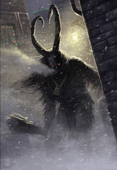 Krampus is a beast-like creature from the folklore of Alpine countries thought to punish children during the Yule season who had misbehaved, in contrast with Saint Nicholas, who rewards well-behaved ones with gifts. Krampus kidnaps naughty children in his sack and takes them back to his lair.