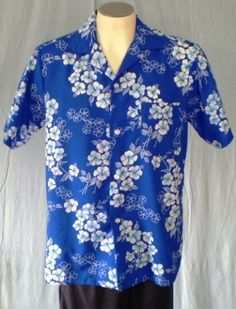 Hukilau Fashions Blue Large Hawaiian Shirt White Flowers Vintage Polyester #HukilauFashions #Hawaiian