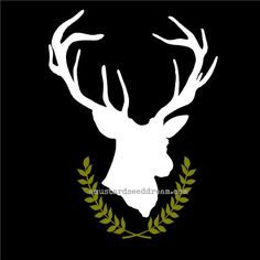 Deer Head Silhouette with Wreath vinyl decal sticker    This ever popular home decor item is now available in vinyl decal! Dont want the real